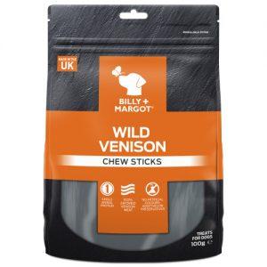 Billy & Margot Wild Venison Chew Sticks Dog Treats 100g