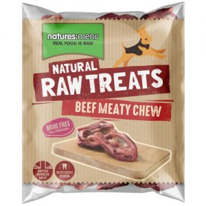 Natures Menu Beef Meaty Chews Raw Frozen Natural Dog Treat 2 Pieces