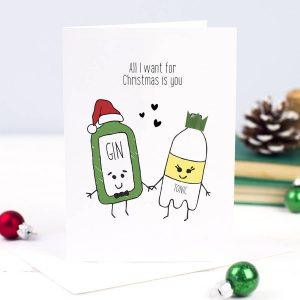 'All I Want For Christmas' Gin Christmas Card