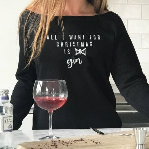 'All I Want For Christmas Is Gin' Jumper, Black