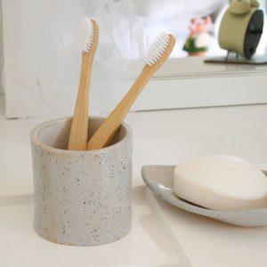 Blue Speckled Toothbrush Pot