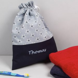 Boy's Personalised Blue Star Wash Bag, Red/Navy