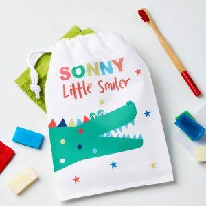 Boys Personalised Crocodile Travel Wash Or Laundry Bag
