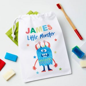Boys Personalised Monster Travel Wash Or Laundry Bag