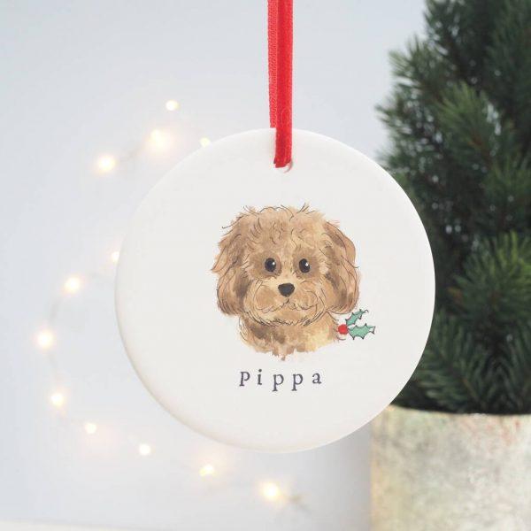 Custom Dog Christmas Decoration Portrait