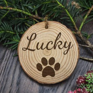 Engraved Dog Paw Christmas Tree Decoration