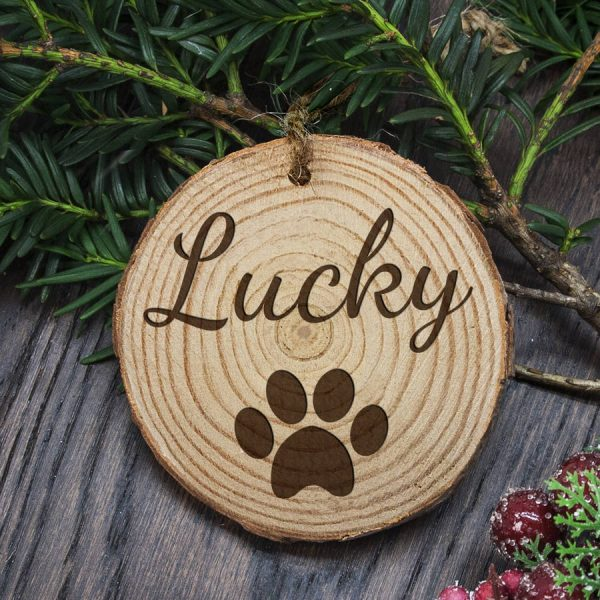 Engraved Dog Paw Christmas Tree Decoration