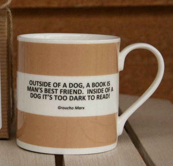 'Outside Of A Dog' Fine Bone China Mug, Coffee/Yellow/Lilac