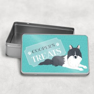 Personalised Border Collie Dog Treat Tin Black Or Tan