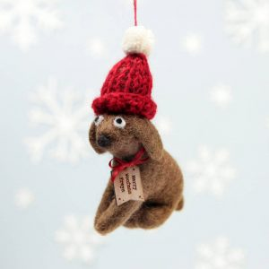 Personalised Brown Dog Woolly Hat Hanging Decoration