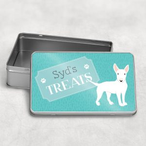 Personalised Bull Terrier Dog Treat Tin Three Colours