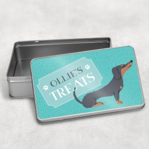 Personalised Dachshund Dog Treat Tin Black Or Tan