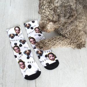Personalised Dog And Owner Photo Socks