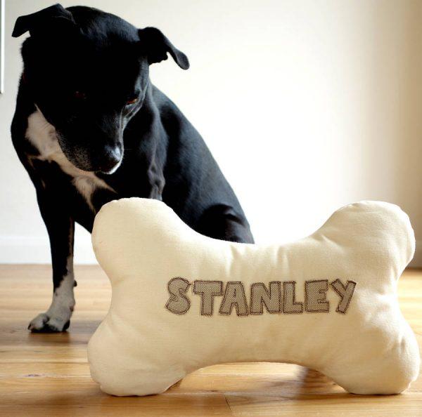 Personalised Dog Bone Cushion Gift
