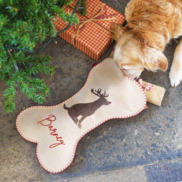 Personalised Dog Breed Bone Shaped Stocking