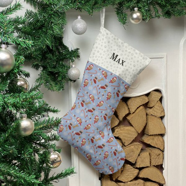 Personalised Dog Breed Christmas Stocking In Blue