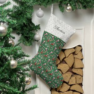 Personalised Dog Breed Christmas Stocking In Green