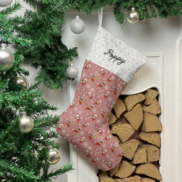 Personalised Dog Breed Christmas Stocking In Pink