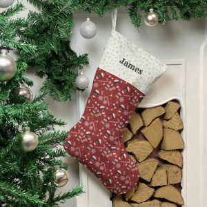 Personalised Dog Breed Christmas Stocking In Red