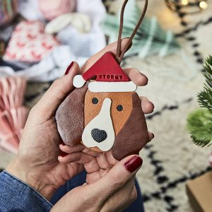 Personalised Dog Breed Leather Christmas Decoration