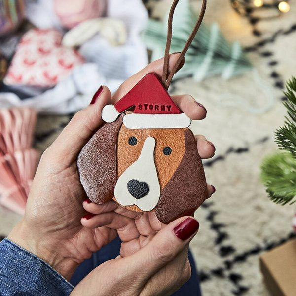 Personalised Dog Breed Leather Christmas Decoration