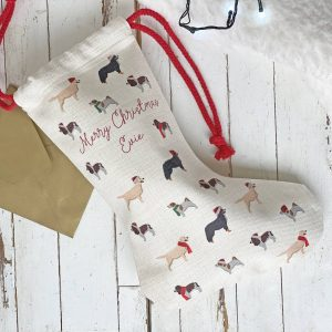 Personalised Dog Pattern Christmas Stocking
