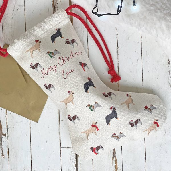 Personalised Dog Pattern Christmas Stocking