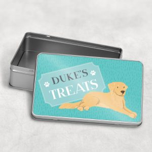 Personalised Golden Retriever Dog Treat Tin