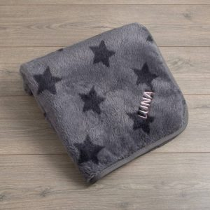 Personalised Grey Star Fleece Pet Blanket