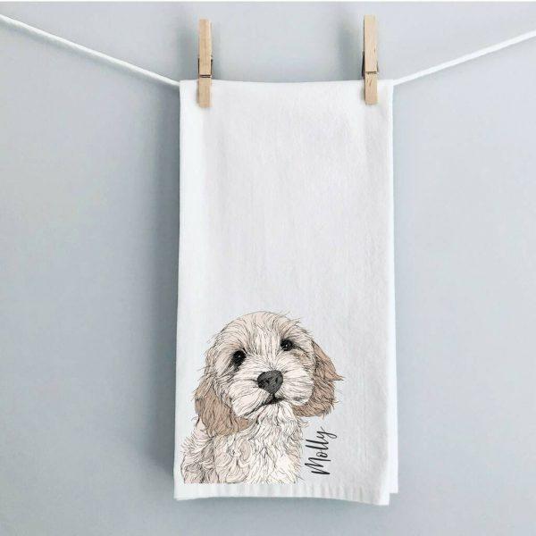 Personalised Illustrated Dog Tea Towel