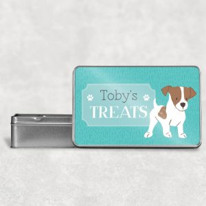 Personalised Jack Russell Terrier Dog Treat Tin