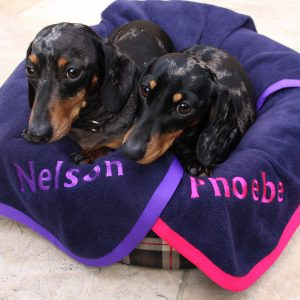 Personalised Pet Blanket, Navy/Red/Cerise Pink