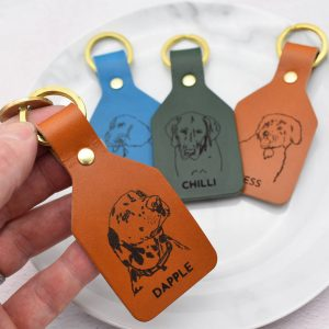 Personalised Pet Dog Portrait Sketch Keyring