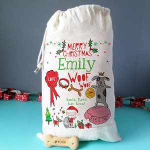 Personalised Pet Santa Sack, Blue/Pink