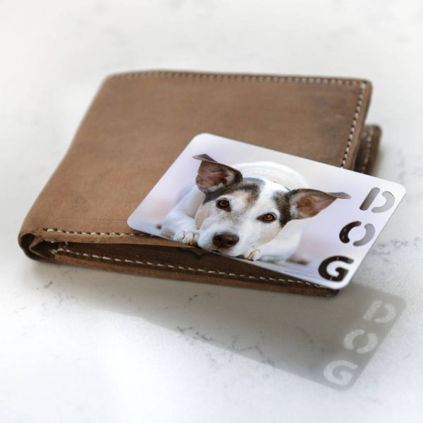 Personalised Photo With Dog Cut Out Metal Wallet Card