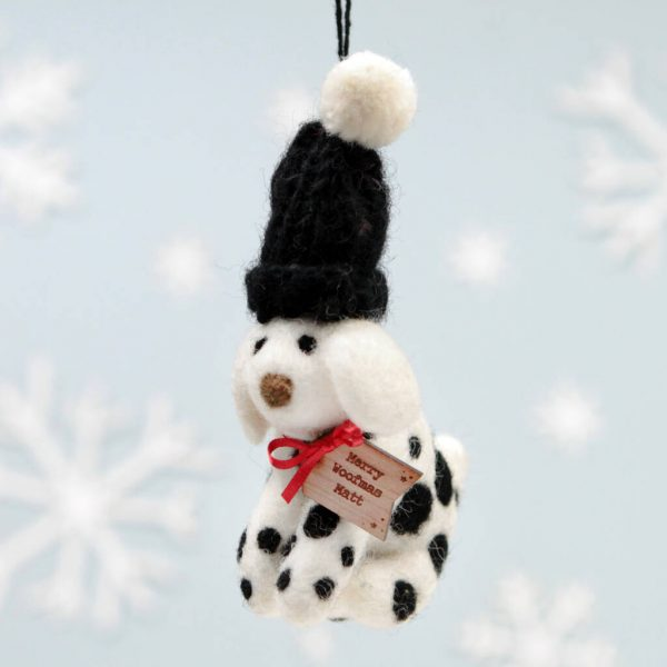 Personalised Spotty Dog Woolly Hat Hanging Decoration
