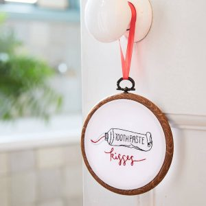 Toothpaste Kisses Embroidery Hoop Couple Gift