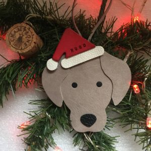 Weimaraner Christmas Decoration Leather Ornament Gift