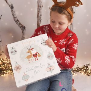 Personalised Winter Charm Wooden Christmas Eve Box