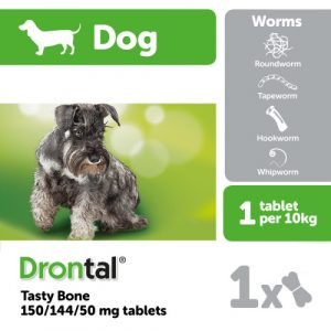 DrontaI Plus Flavour Bone Shaped Dog Worming Tablets 1 Tablet NFA-D