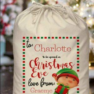 Personalised Christmas Eve Elf Sack