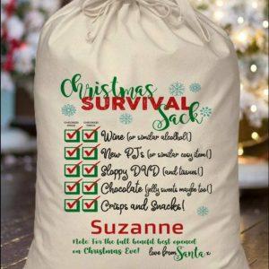 Personalised Christmas Survival Cotton Santa Sack