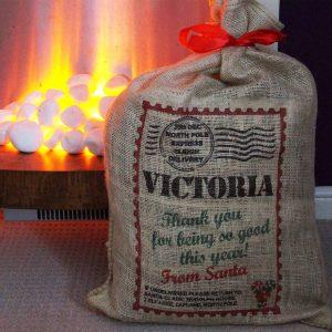 Personalised Santa Sack Hessian Jute Christmas Stocking