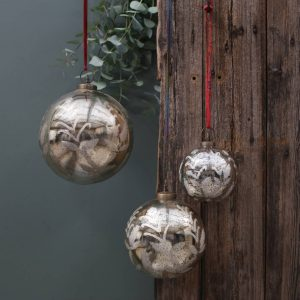 Antique Smoked Gold Christmas Bauble