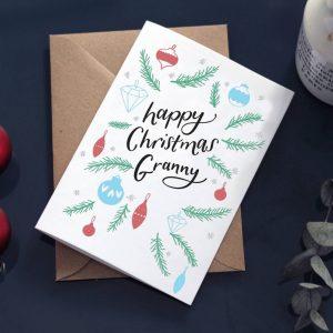 'Happy Christmas Granny' Christmas Baubles Card