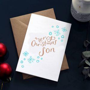 'Merry Christmas Son' Foil Christmas Card