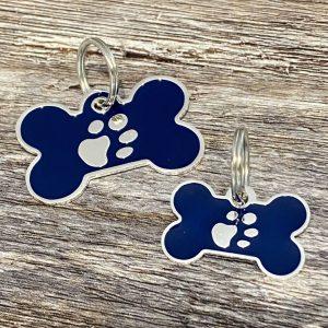 Blue And Silver Enamel Bone Dog Tag