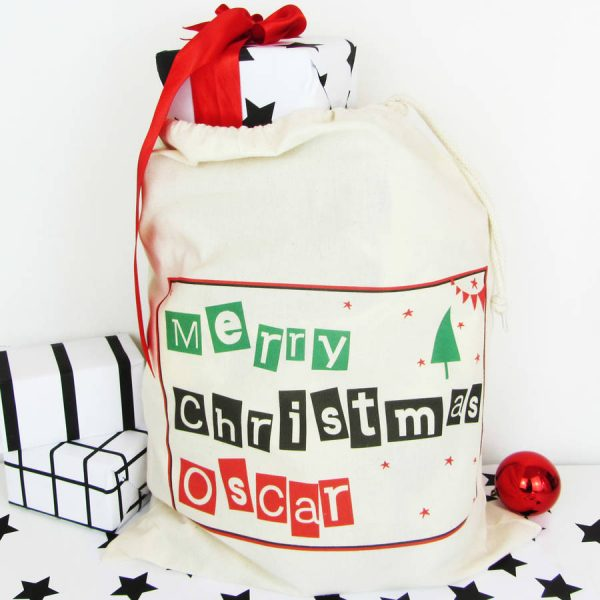 Christmas Tree, Personalised Christmas Sack