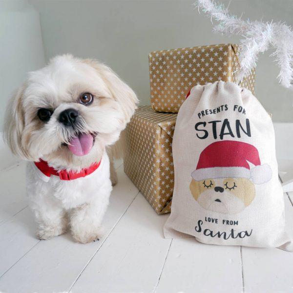 Cute Dog Santa Christmas Sack