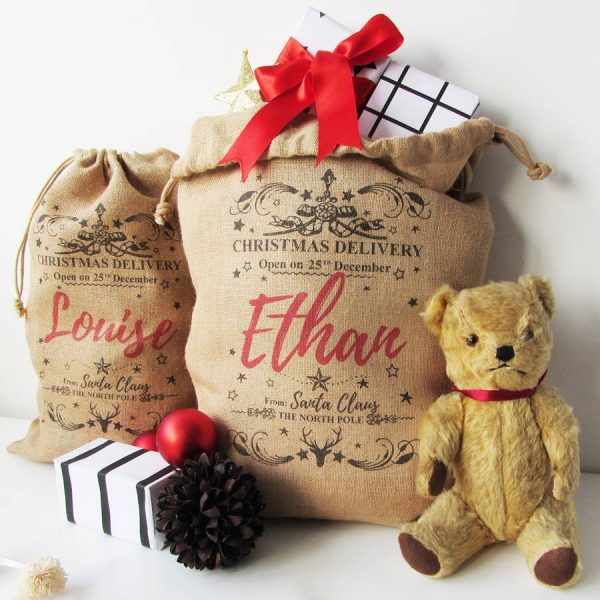 Personalised Burlap Christmas Sack In S, M, L Or Xl